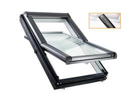 Roto Designo R45 Billenő tetőtéri ablak, műanyagból, alsó kilinccsel és 2-rétegű üveggel távirányítós kivitel