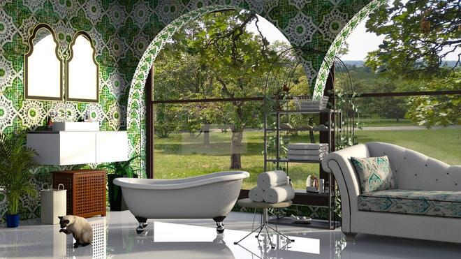 fürdőszoba kert