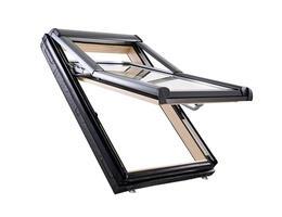Roto Designo R79 felső harmadban billenő tetőtéri ablak, fából alsó kilinccsel és 3-rétegű üveggel natúr fa színű (R79 H WD)