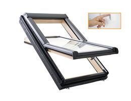 Roto Designo R45 Billenő tetőtéri ablak, fából, alsó kilinccsel és 2-rétegű üveggel fali kapcsolós kivitel