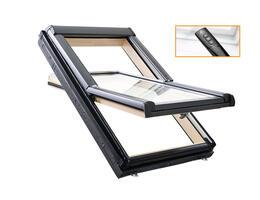Roto Designo R45 Billenő tetőtéri ablak, fából, alsó kilinccsel és 2-rétegű üveggel távirányítós kivitelben