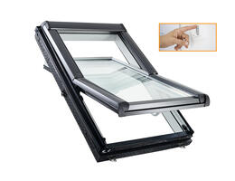 Roto Designo R45 Billenő tetőtéri ablak, műanyagból, alsó kilinccsel és 2-rétegű üveggel falikapcsolós kivitel